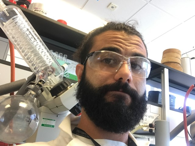 picture of Alessandro in the lab. Supplied by Ale.