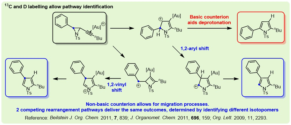 chemdraw diagram showing 13C labelling study elucidating parallel pathways for formation of pyrrole isomers. See BJOC 2011, 7, 839.