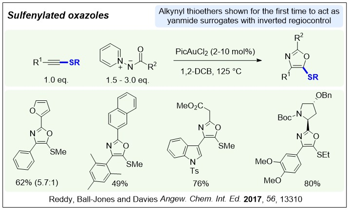 A chemdraw diagram shoiwng the reaction of alkynyl thioethers with amindes to make sulfenylated oxazoles in the procedure in Angew. Chem. Int. Ed. 2017, 56, 13310